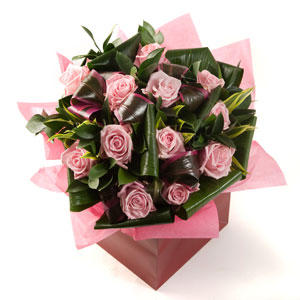 Valentine 12 Pink Roses Arrangement