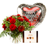 Valentine 12 Red Rose Bouquet and Gift Set