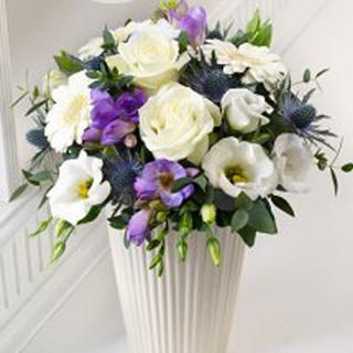 Stunning Blue & White Arrangement in Pot Vase