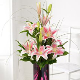 Oriental Lily Vase Arrangement