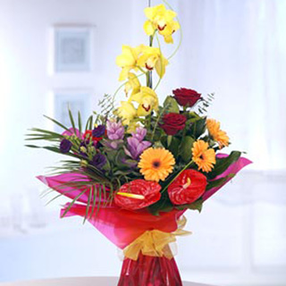 Tropical Fiesta Contemporary Hand-tied Bouquet
