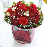 Christmas Floral Bouquet in Gift Bag