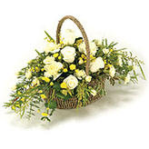 Basket Arrangement in Cream and Yellows
