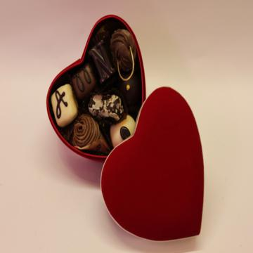 Belgian Chocolates in Velvet Heart Box