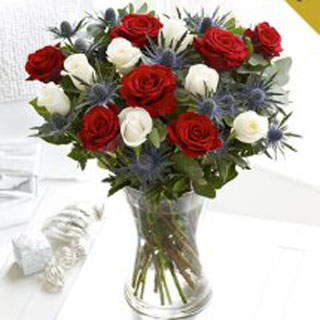 Christmas Roses Hand-tied in a  Bouquet