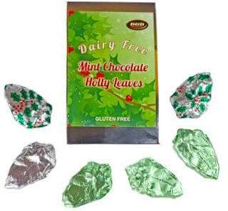 D&D Dairy Free Mint Chocolate Holly Leaves