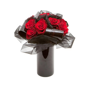 Dark Desire Vase of Red Roses