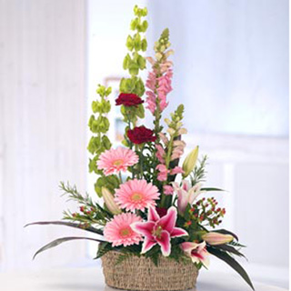 Kimi Pink Floral Basket Arrangement