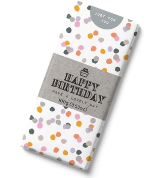 Happy Birthday Polka Dots Milk Chocolate Bar