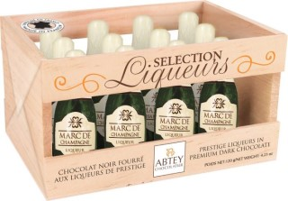 Abtey Chocolate Bottles filled with Marc de Champagne Liqueur