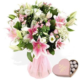 Pink Oriental Hand-tied Bouquet with Pink Champagne Truffles