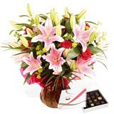 Pink Oriental Lily Rhapsody Arrangement with Lindt Chocolate Collection