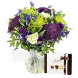 Misty Blue Hand-Tied Bouquet Arrangement with Butlers Chocolates