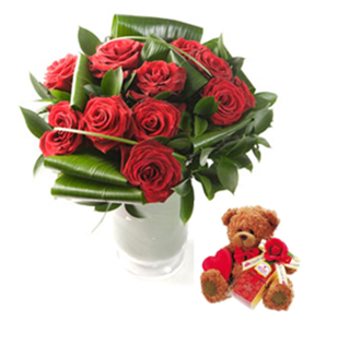 12 Luxury Red Roses with Valentines Heidel Teddy Bear