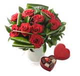12 Luxury Red Roses with Neuhaus Belgian Chocolate Gift Box