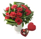 12 Luxury Red Roses with Neuhaus Belgian Chocolate Gift Box