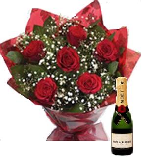 Six Passion Roses Bouquet with Moet & Chandon Champagne
