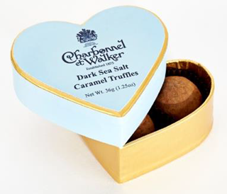Charbonnel et Walker Mini Blue Heart Dark Sea Salt Caramel Truffles