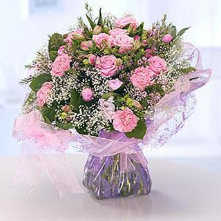Pretty Pink Hand-tied Flower Arrangement