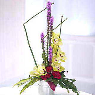 Contemporary Cymbid Orchid Arrangement