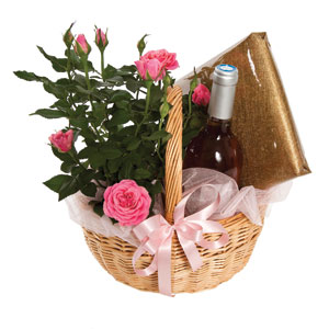 Pink Rose Gift- Basket