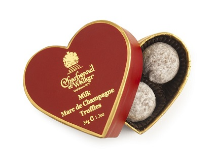 Charbonnel et Walker Mini Red Heart Milk Marc de Champagne Truffles