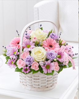 Pastel Floral Basket Arrangement