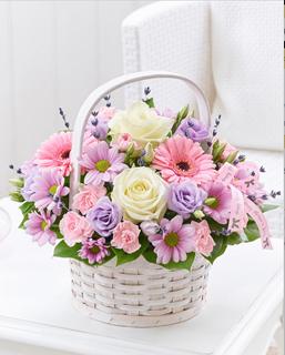 pastel floral basket arrangement. Black Bedroom Furniture Sets. Home Design Ideas