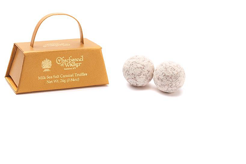 Milk Sea Salt Caramel Truffles in Mock Hand bag