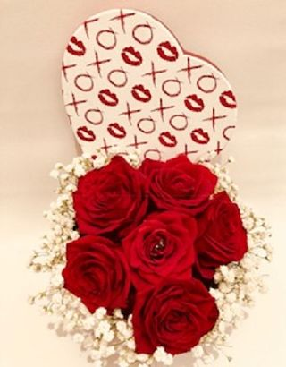 Red Roses and Gypsophila arranged in Heart Box
