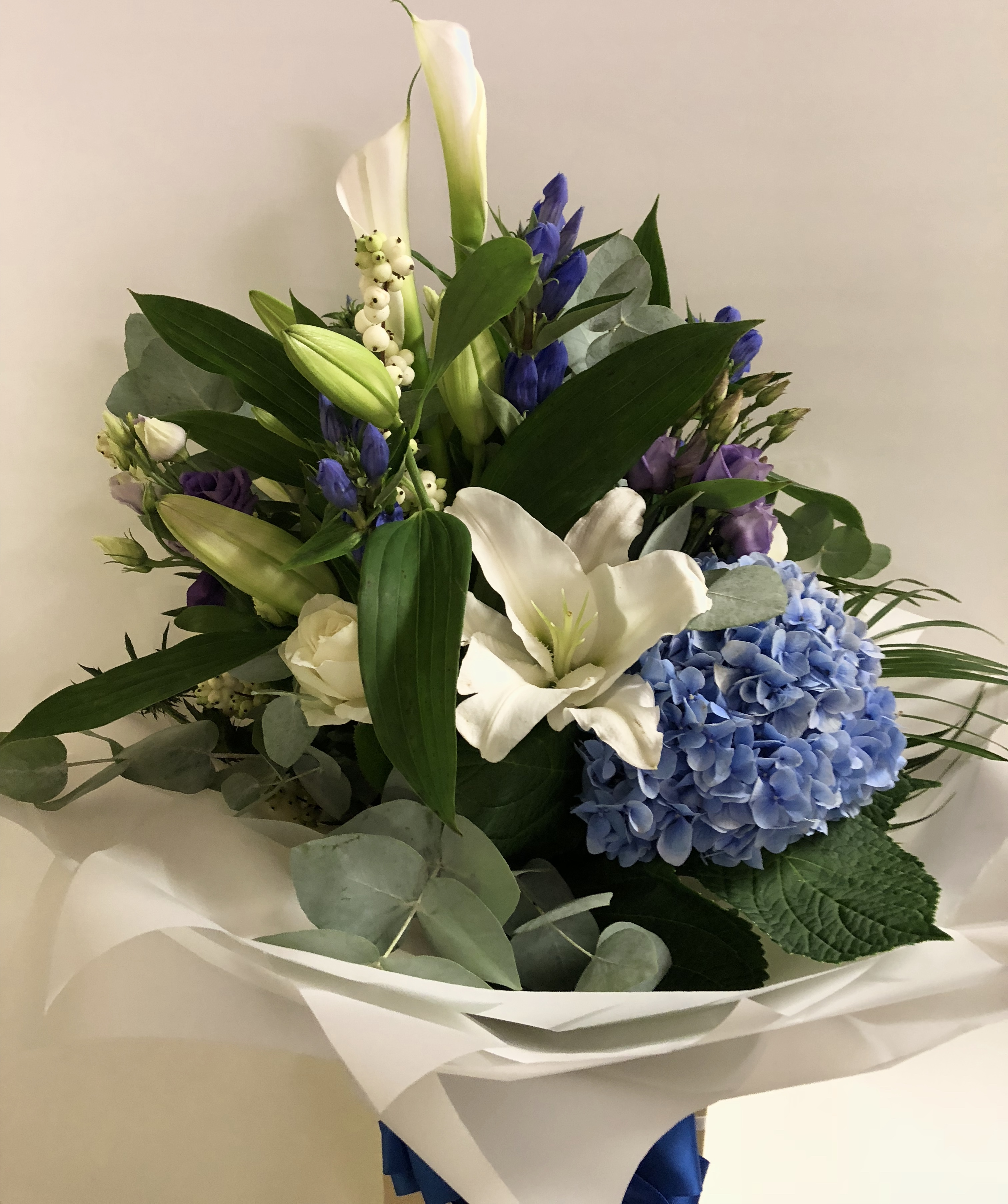 Contemporary Blue, White & Purple Hand-tied Bouquet