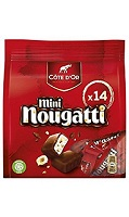 Mini wrapped Nougatti pieces in pouch