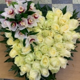 Cream Funeral Heart Arrangement With Modern Twist