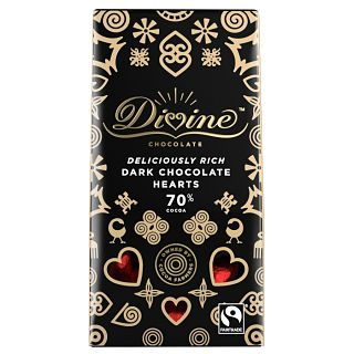 Divine Dark Chocolate 70% Cocoa Hearts