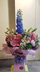 Blue & Pink Hand Tied Arrangement