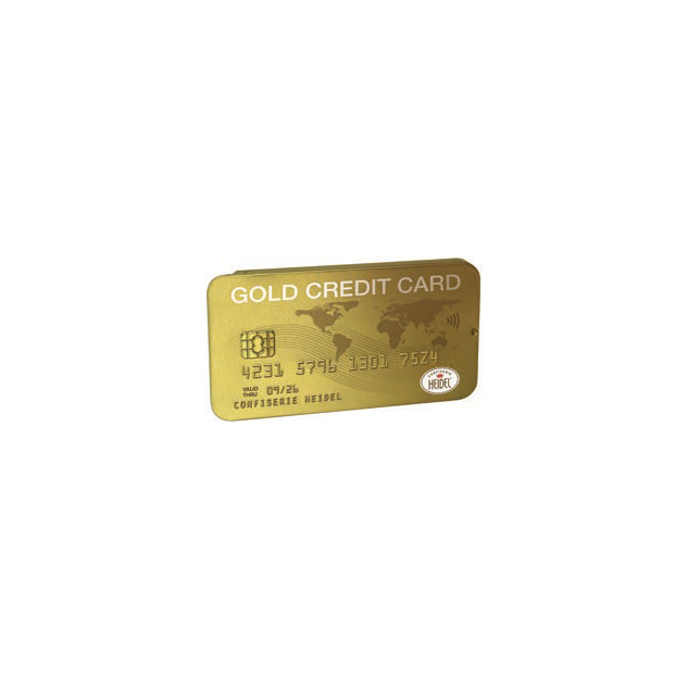 Gold Credit Card Tin with Miniature Chocolate Bars
