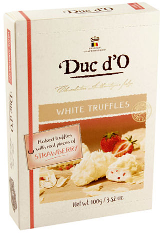 Duc d'O Flaked White Strawberry Truffles
