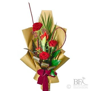 Gift Wrapped Red Valentines Arrangement
