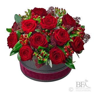 Small Hat Box Rose Arrangement