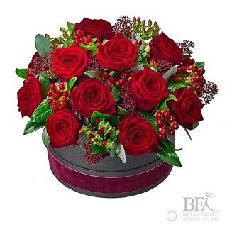 Large Hat Box Rose Arrangement