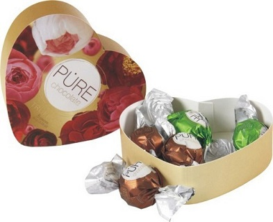 Pure Chocolate 5 piece Heart-shaped selection box