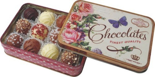 Vintage Chocolate Tin with Truffle Assortment