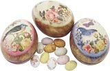 Retro Floral Mini Tin with Speckled Eggs