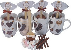 Heart Design Mug with Hot Chocolate Stirrer and Chocolates