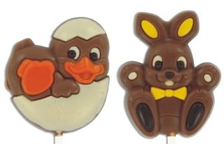 Decorated Chick and Bunny Lollies