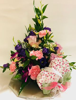 Pink Floral & Chocolate Arrangement