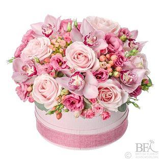 Pink Hat Box Arrangement