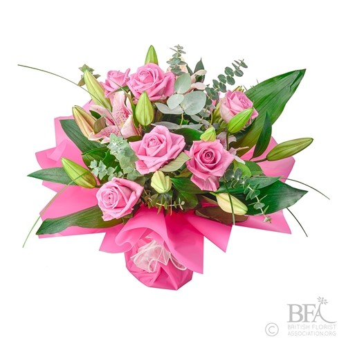 Pink Oriental Lily & Rose Valentine Arrangement
