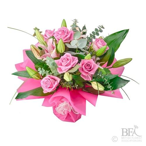 Small Pink Oriental Lily & Rose Valentine Arrangement