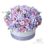 Lilac And Blue Hat Box Arrangement